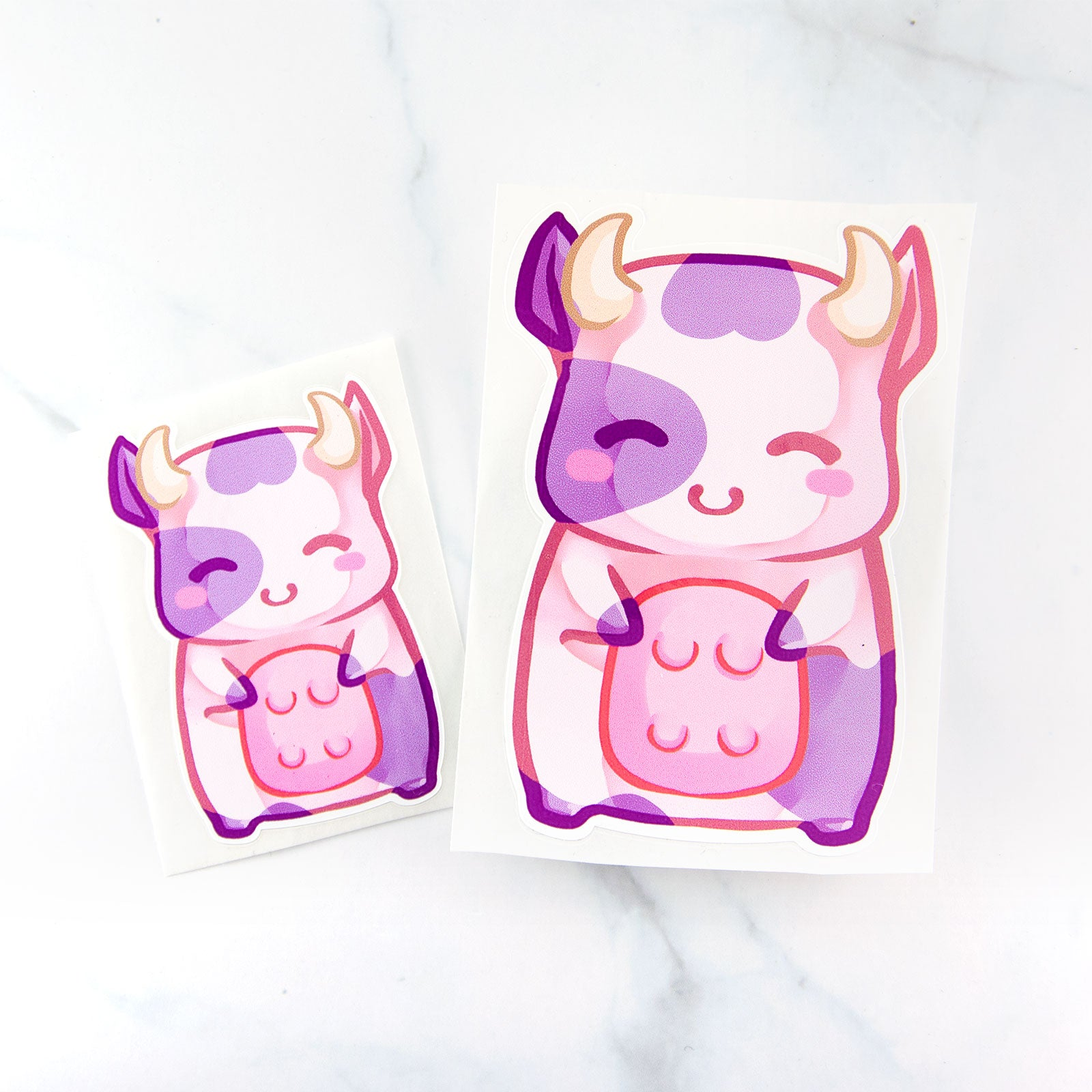 Kawaii baby pink anime cow sticker - MadModesty