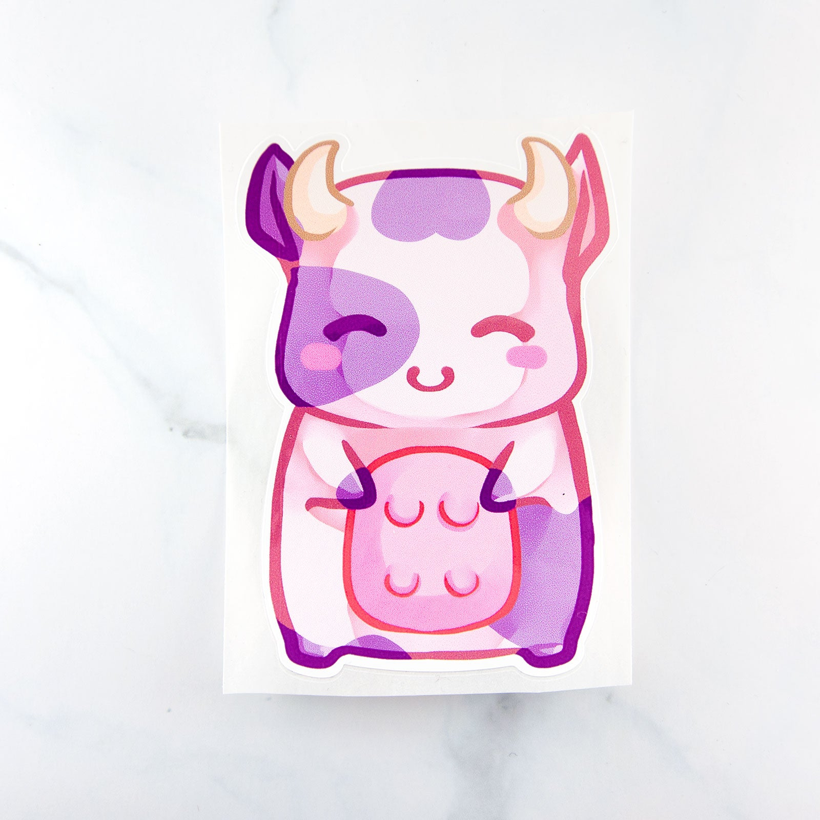 Cute anime pastel pink manga cow sticker - MadModesty