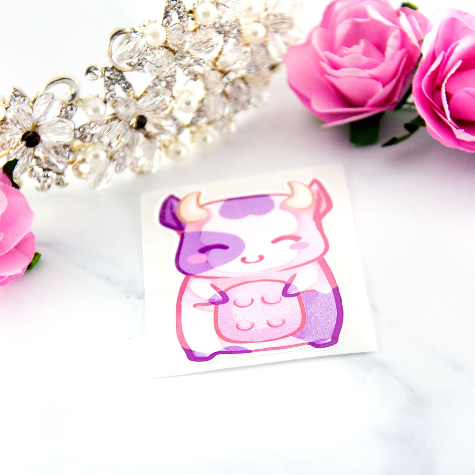 Cute chibi baby pink manga cow sticker - MadModesty