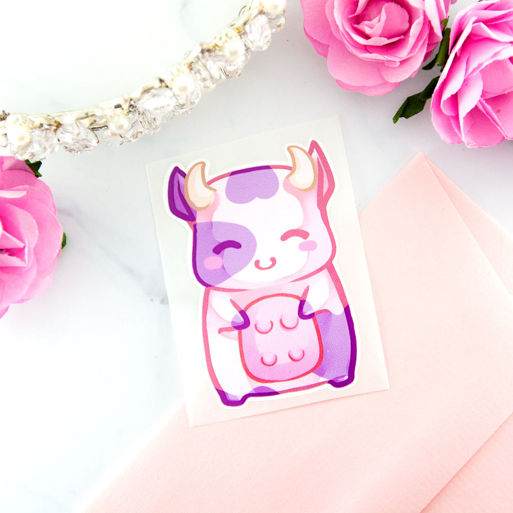 Kawaii chibi baby pink cow sticker - MadModesty