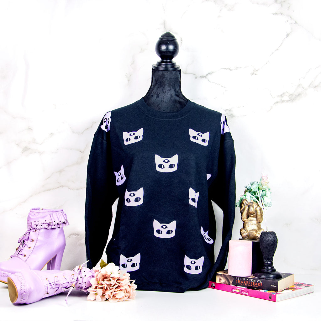 Black and lilac 3-eyed alien cat sweater - MadModesty