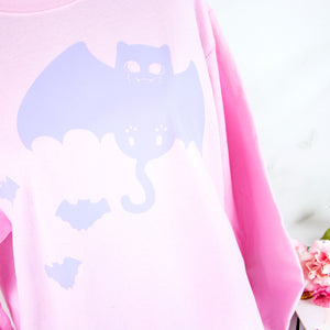 Pink lilac bat cat creepy cute clothing - MadModesty