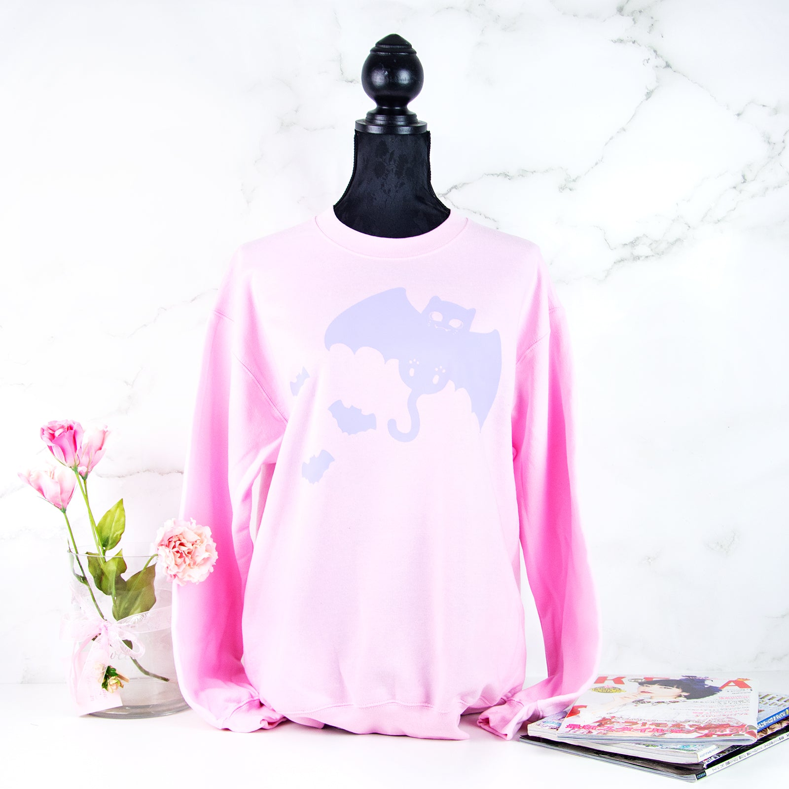 pink Pastel goth bat cat sweater - MadModesty