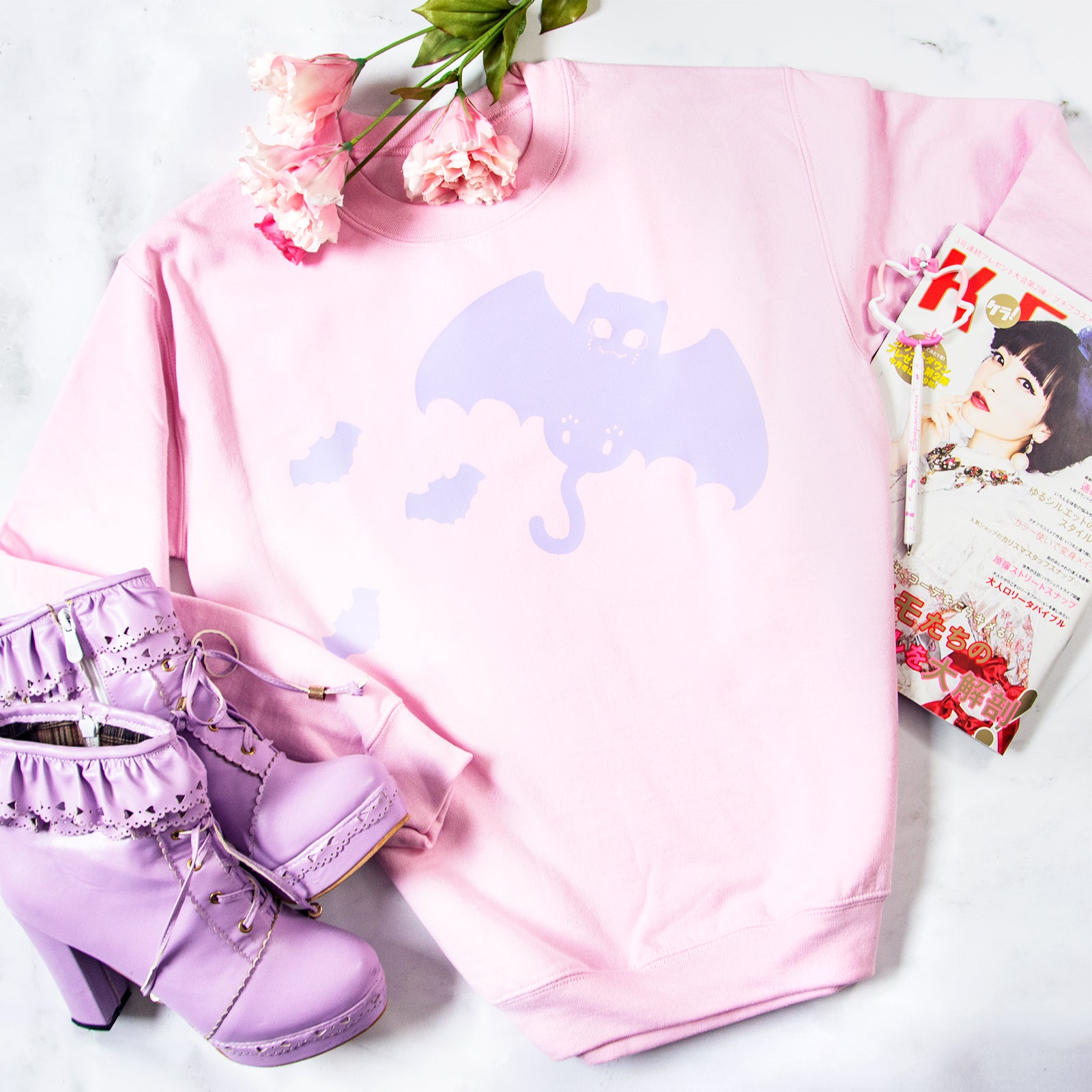 Pastel got bat cat creepy cute kawaii sweater - MadModesty