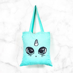 Large mint green kawaii unicorn cat tote bag - fairy kei pastel goth