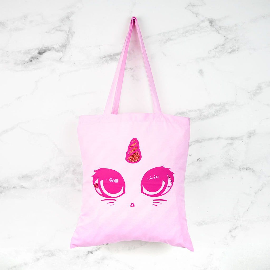 Holographic unicorn cat tote bag