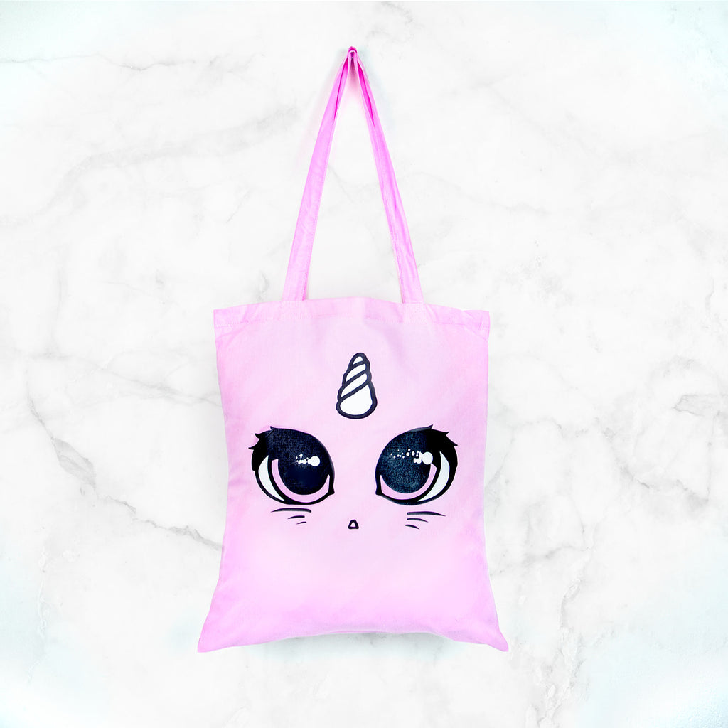 Pink unicorn cat face tote bag - MadModesty