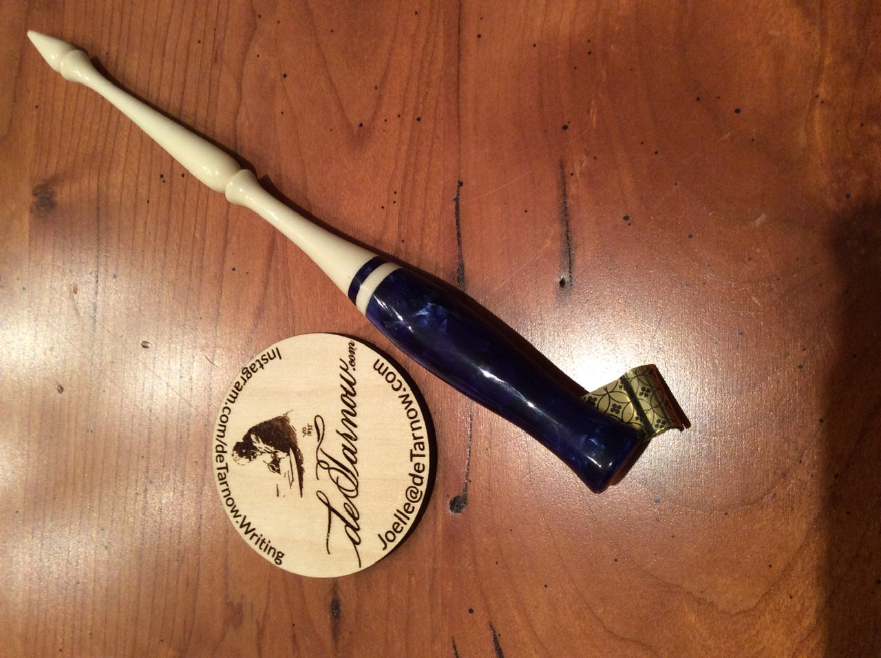 Sapphire Blue and Holly Pen Holder