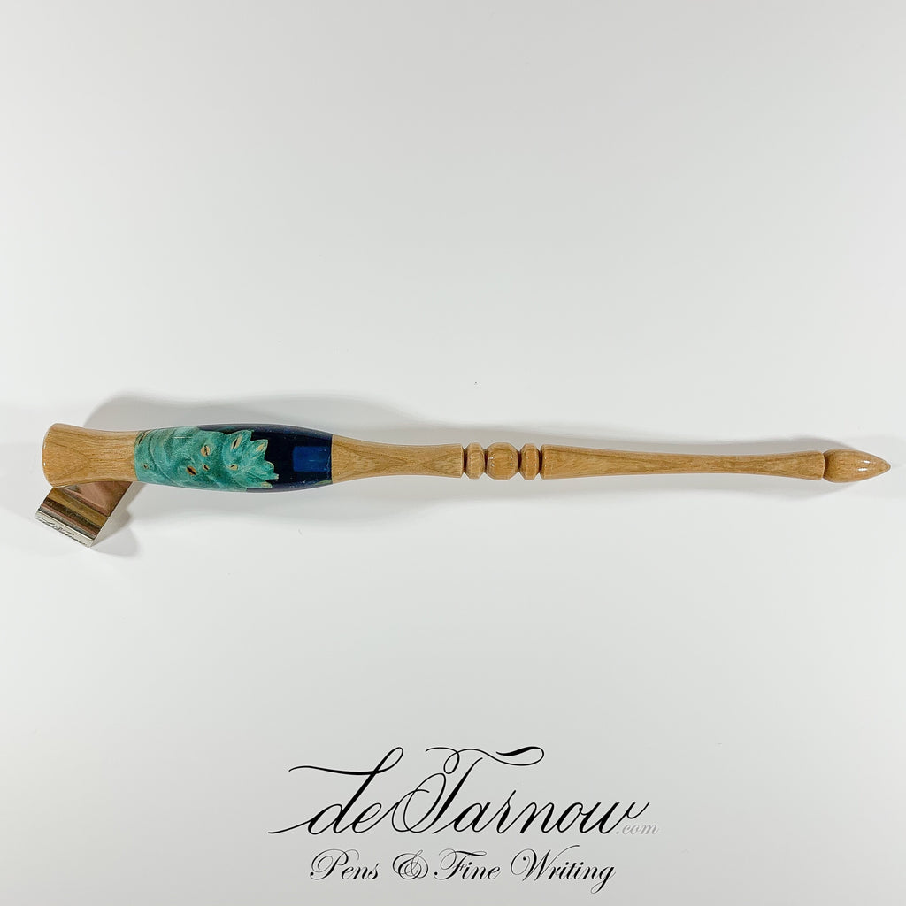 Oblique Pen, Maple Burl in Blue Acrylic with Ash