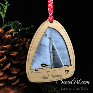 Scow or Opti Ornament - Maple with real Sail Cloth