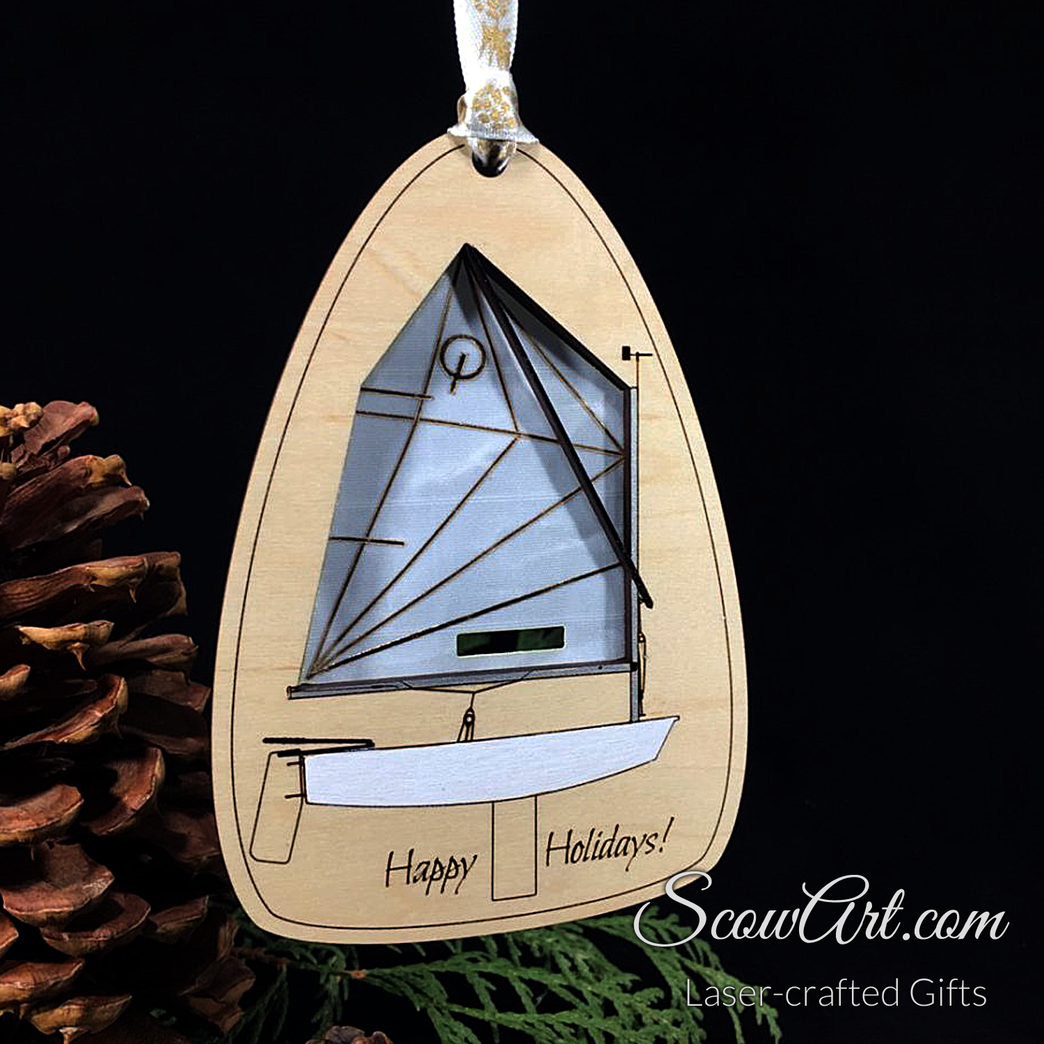 Scow, X-Boat or Opti Ornament - Maple with real Sail Cloth