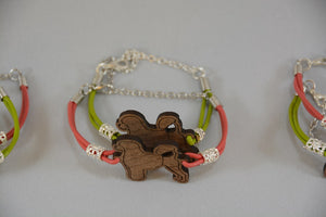 Portuguese Water Dog Bracelet - Walnut & Leather