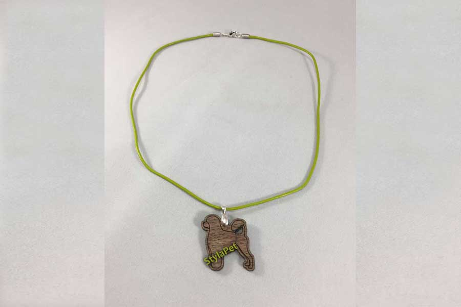 Portuguese Water Dog Necklace - Walnut & Leather