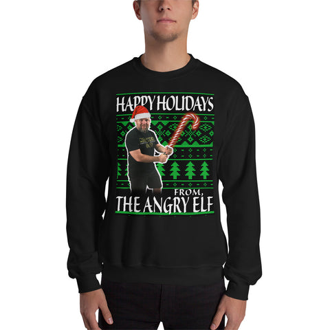 ANGRY ELF HAPPY HOLIDAYS UNISEX SWEATSHIRT