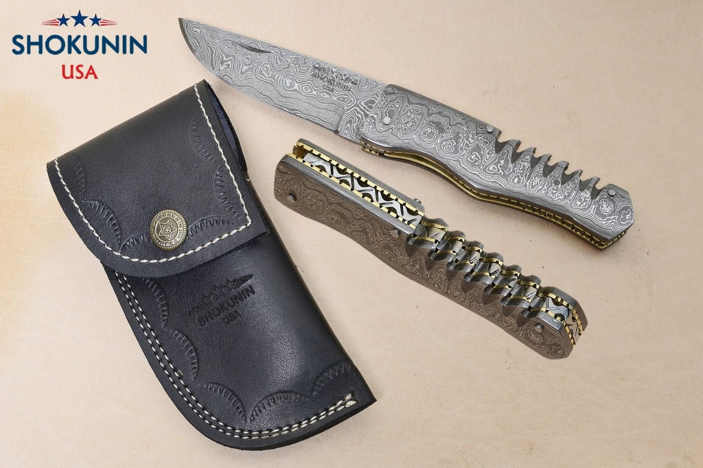 DAMASCUS STEEL folding pocket,, damascus folding KNIFE with sheath, damascus everyday carry, damascus folder, full damascus knife - SHOKUNIN USA