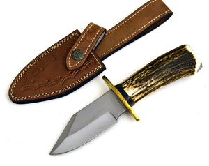 "KNIFE D2 Steel, STAG, 9-1/2"", D2 Steel knife hunting knife w/ sheath everyday carry knife w/ Stag horn handle, Bowie knife - SHOKUNIN USA"