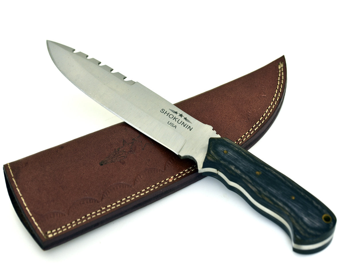 Stealth, D2 Steel/Die Steel/Carving Knife/Wood Micarta Handle/Lanyard Hole - SHOKUNIN USA