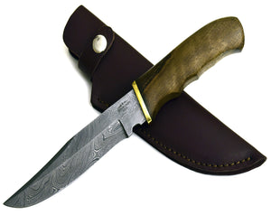 "11"", hand forged SWIFT custom Damascus steel hunting knife BOWIE knife with walnut wood handle, brass guard - SHOKUNIN USA"