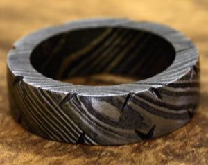 Hand Forged & Finished Damascus Steel Ring, Damascus Ring, Hand Carved, US size 7.5 ring, wedding band, engagement ring, rings, bands - SHOKUNIN USA