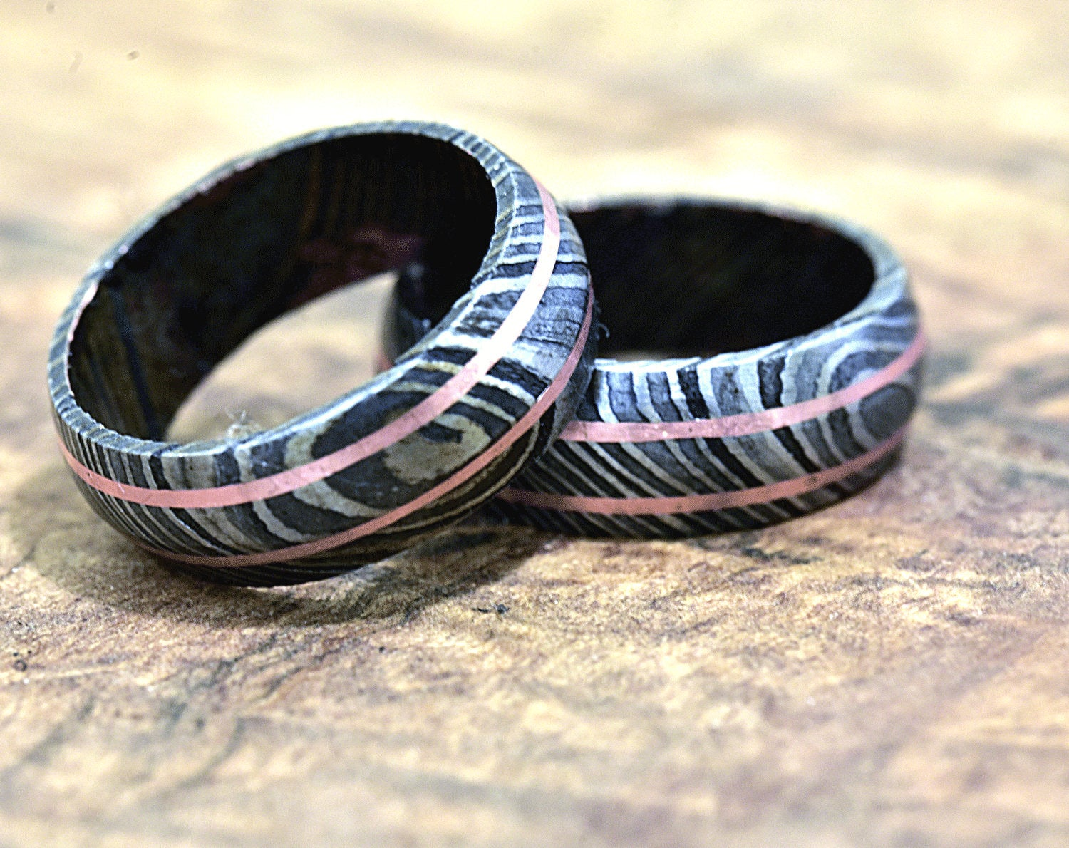 Damascus Ring, Hand Forged & Finished Damascus Steel Ring, Copper Inlay Hand Carved, US size 11 ring, wedding band, engagement ring - SHOKUNIN USA