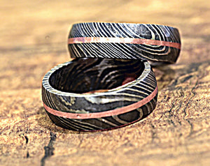 Hand Forged & Finished Damascus Steel Ring, Damascus Ring, Copper Inlay Hand Carved, US size 9 ring, wedding band, engagement ring - SHOKUNIN USA
