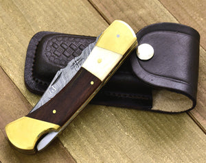 "8.75"" Folding Hunter Pocket Knife Custom Hand Made Forged Damascus Steel Hunting Bowie knife whale bone & walnut wood inlay, brass body G10 - SHOKUNIN USA"