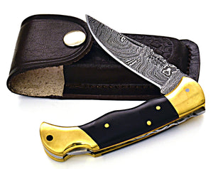 "personalized 7.25"" Folding Hunting Knife groomsman gift Damascus Steel pocket knife handmade buffalo horn & brushed brass body, gift - SHOKUNIN USA"