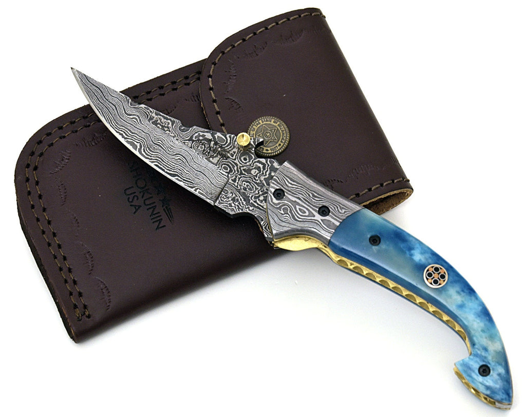 FOLDING POCKET KNIFE, Damascus folding knife, every day carry, Damascus pocket knife, personalized knife, pocket knife, camel bone - SHOKUNIN USA