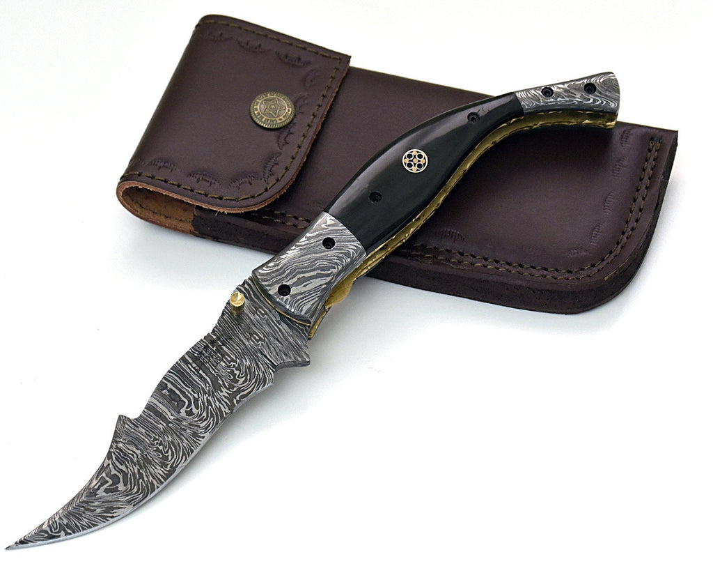 "POCKET KNIFE, 9.5"", custom, folding knife, Damascus folding knife, Damascus pocket knife, folding pocket knife, Buffalo horn scales - SHOKUNIN USA"