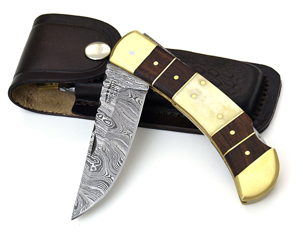 "8.75"" pocket Knife, personalized, Custom, Hand Made, hand Forged, Damascus Steel, Hunting knife, bone & Bolivian rose wood scales. damascus - SHOKUNIN USA"