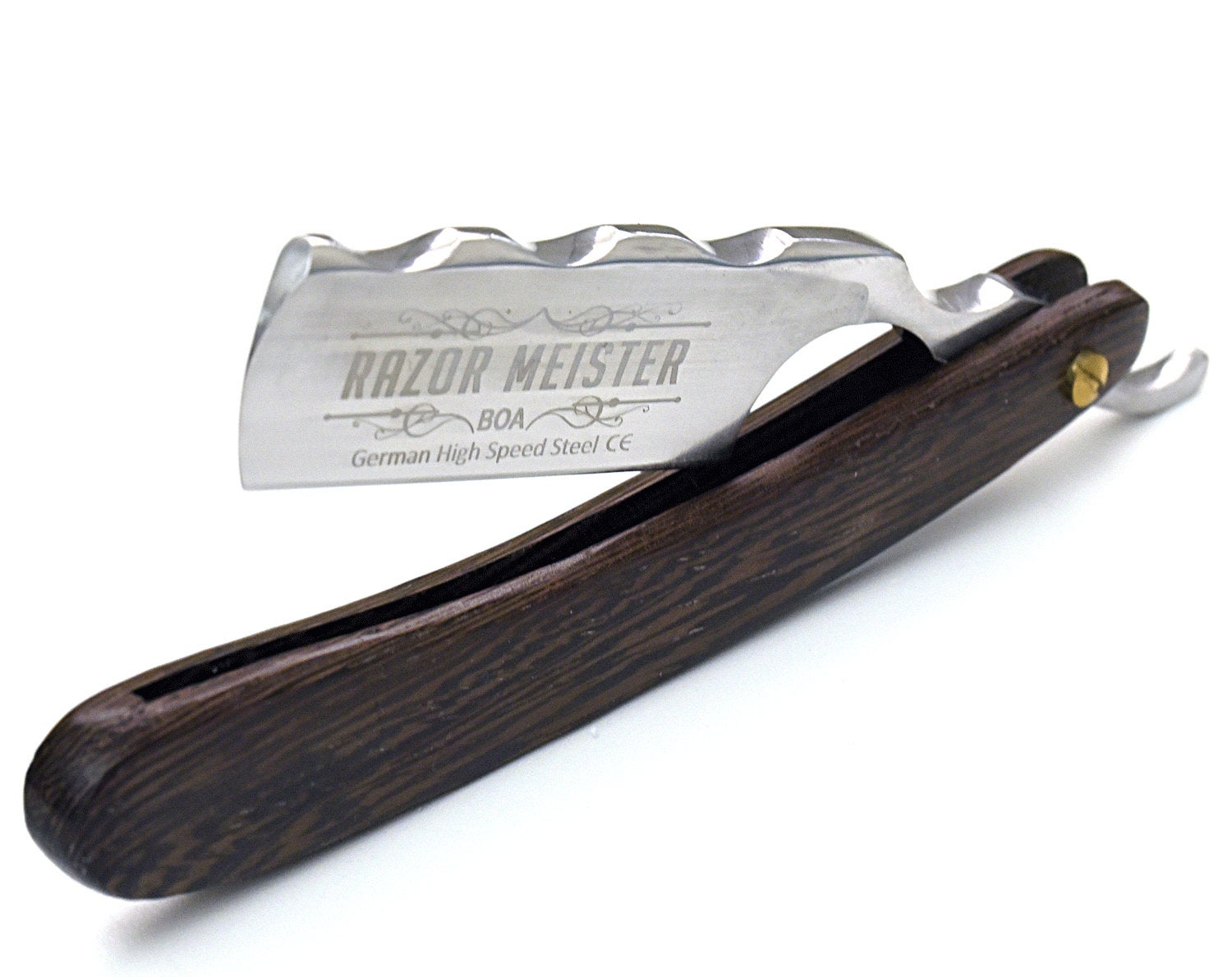 STRAIGHT RAZOR by Razor Meister, BOA, Wenge wood scales, shave ready, custom razor, personalized, hand stitched leather sheath new custom - SHOKUNIN USA