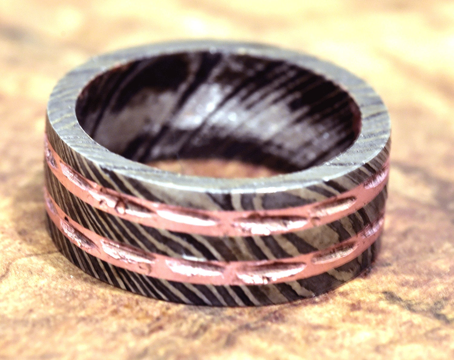 Damascus Ring, Hand Forged & Finished Damascus Steel Ring, Copper Inlay Hand Carved, US size 11.25 ring, wedding band, engagement ring - SHOKUNIN USA