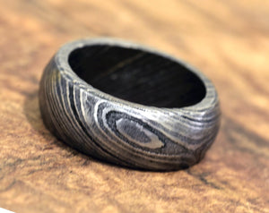 Damascus Ring, Hand Forged & Finished Damascus Steel Ring, Copper Inlay Hand Carved, US size 9 ring, wedding band, engagement ring - SHOKUNIN USA
