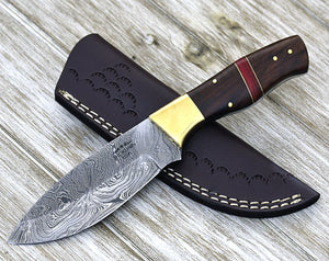 "9.0"" CUSTOM, DAMASCUS KNIFE Personalized damascus steel knife every day carry drop point blade utility hunting knife 9"" 3491-1 - SHOKUNIN USA"