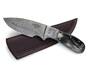 "Odin, Damascus steel knife, damascus knife, DAMASCUS TWIST Pattern hunting knife tactical camping utility knife 9""  bison horn Handle 3099 - SHOKUNIN USA"