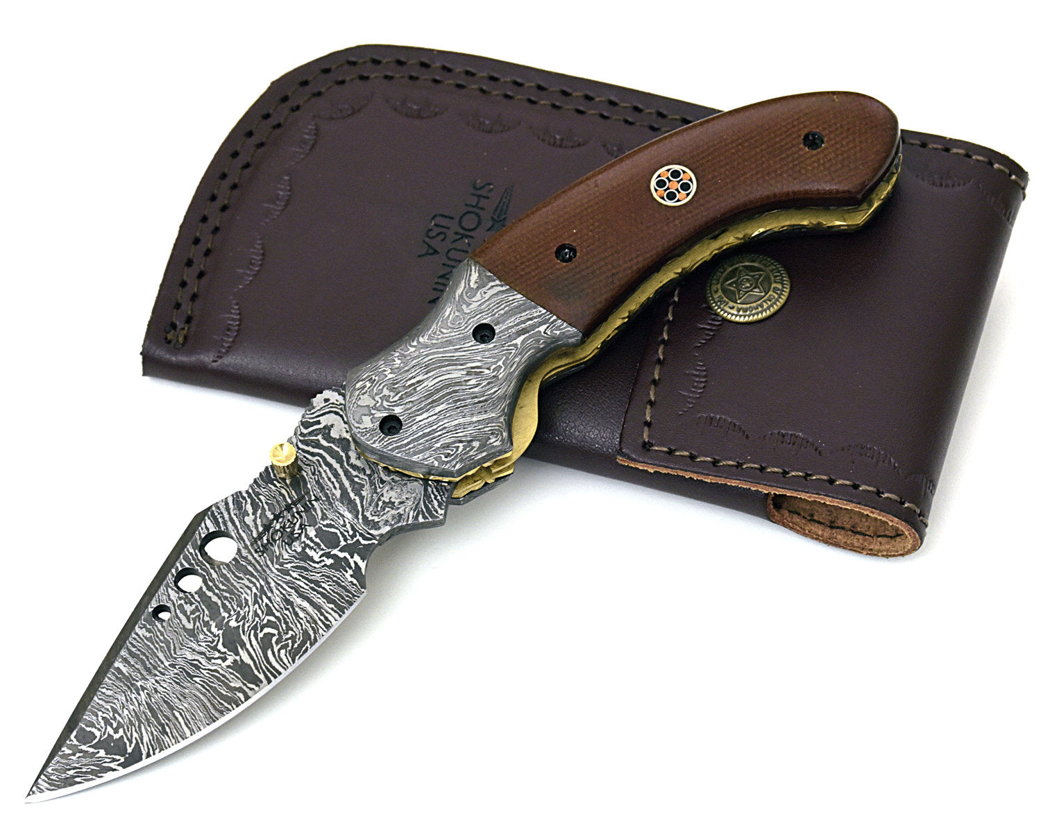 POCKET KNIFE, folding knife, every day carry, Damascus folder pocket knife, folding pocket knife, Micarta handle, Custom - SHOKUNIN USA