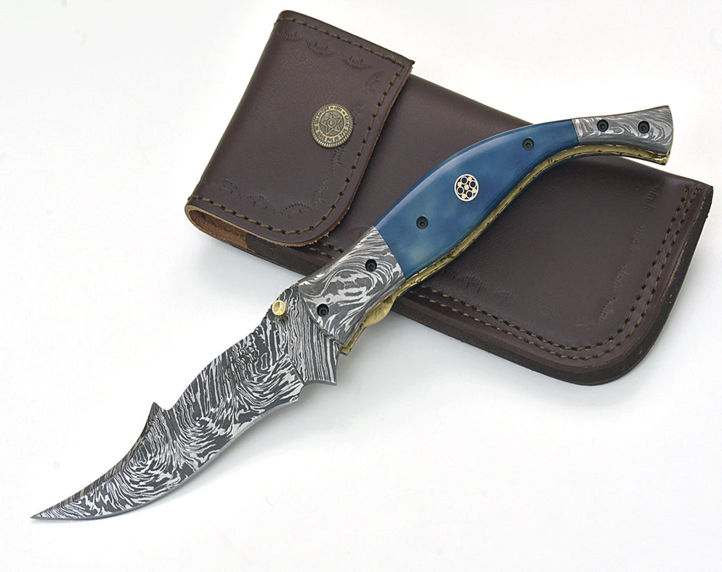 "POCKET KNIFE, 9.5"", custom, folding knife, every day carry, Damascus folder pocket knife, folding pocket knife, bone handle, personalized - SHOKUNIN USA"