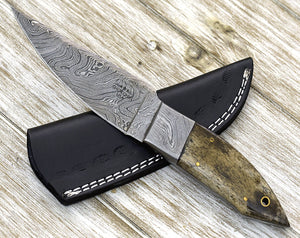 "EDGY, Damascus Steel Blade needle point Hunting knife 9"" Shokunin Custom Damascus Knives, Damascus hunting knife, handmade - SHOKUNIN USA"