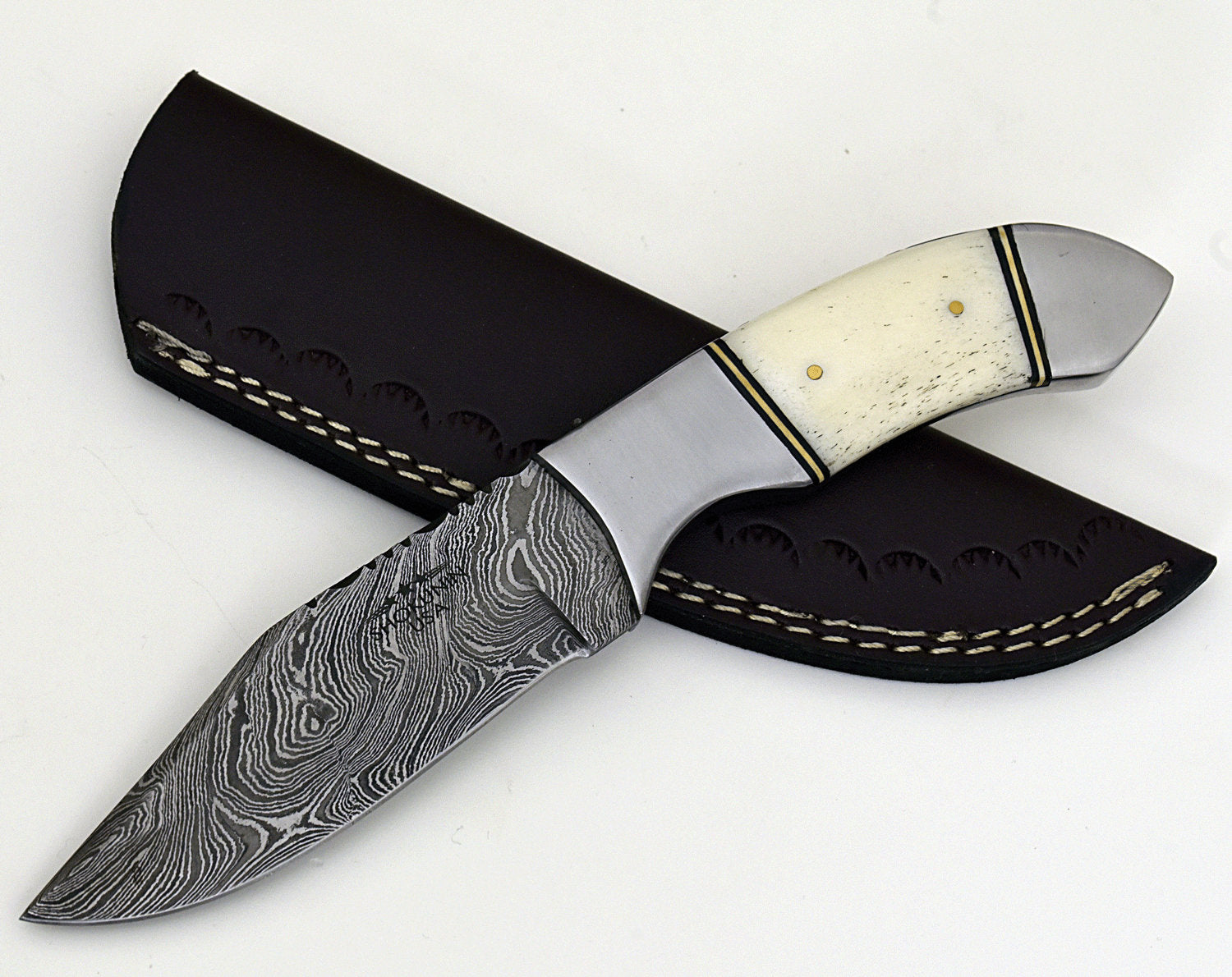 "Tomahawk damascus steel hunting knife, DAMASCUS KNIFE, CLIP point, new, 9"", tactical camping utility knife - SHOKUNIN USA"
