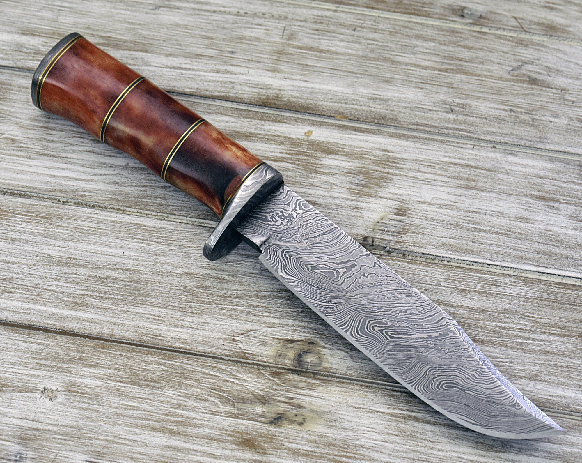 "CUSTOM DAMASCUS KNIFE, Hand Made, 13"" Damascus steel hunting knife, bowie knife, Damascus Guard and Bone handle, full tang - SHOKUNIN USA"