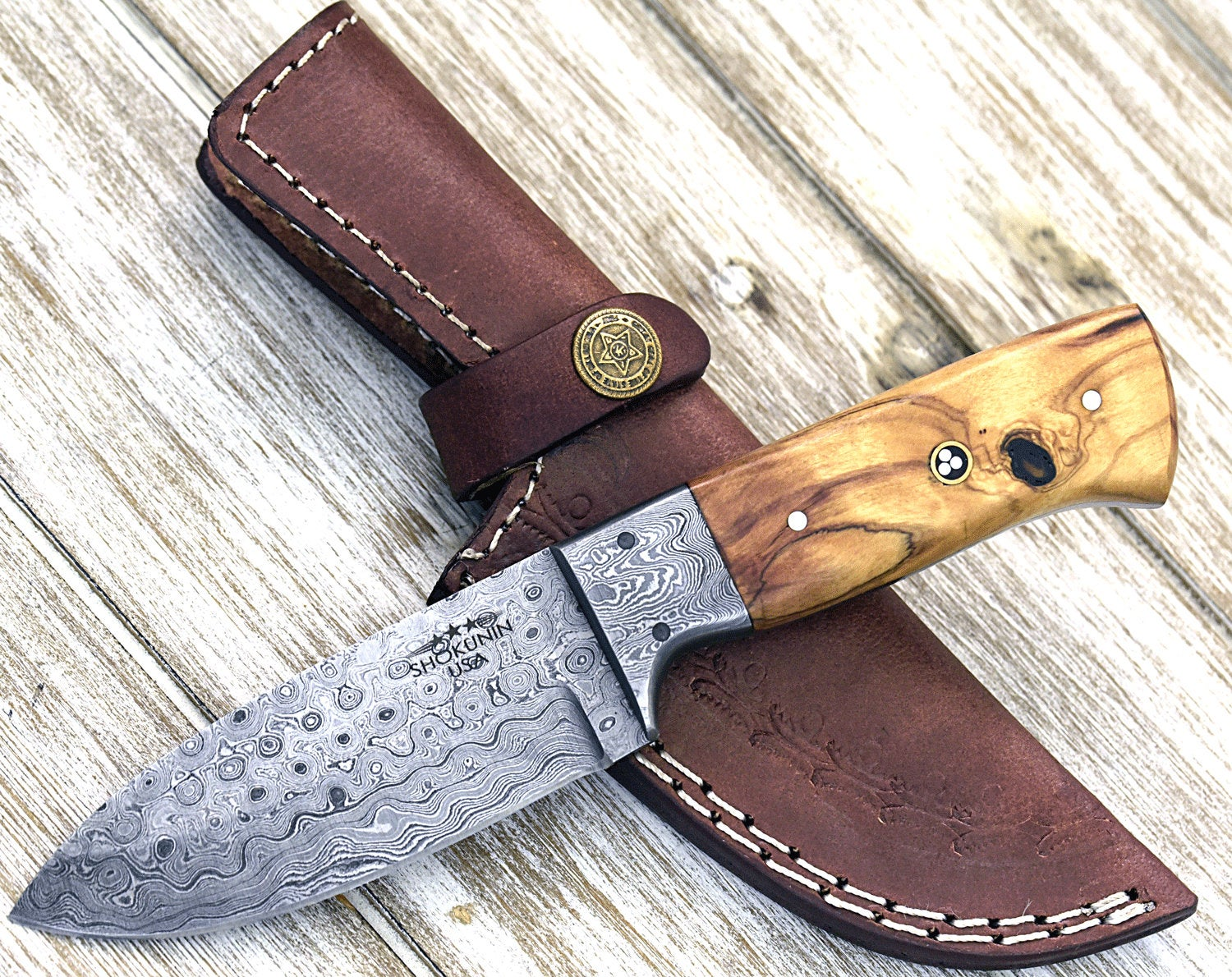 "8.0"" Custom Damascus knife, Damascus steel hunting knife tactical camping utility knife with hand stitched leather sheath Personalize - SHOKUNIN USA"