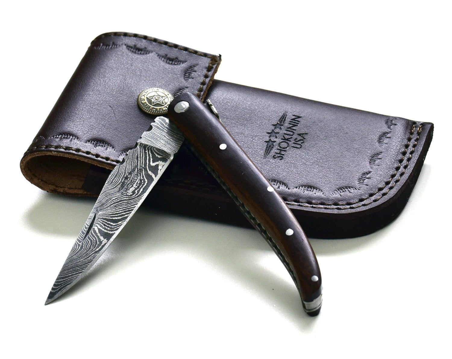 "8.5"" Pocket Knife, laguiole, steak knife, Custom Hand Made Forged Damascus Steel black walnut wood Handle - SHOKUNIN USA"
