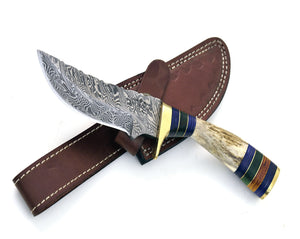 "8.0"" Custom Damascus knife, Damascus steel utility knife tactical camping hunting knife with hand stitched leather sheath stag handle - SHOKUNIN USA"