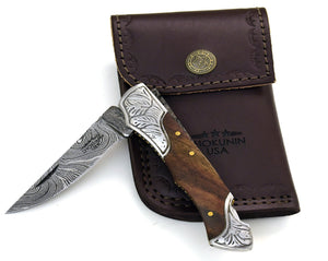 "DAMASCUS Knife, Folding knife, Pocket knife, EDC damascus steel hunting utility knife tactical camping knife 7"" Every day carry Walnut - SHOKUNIN USA"
