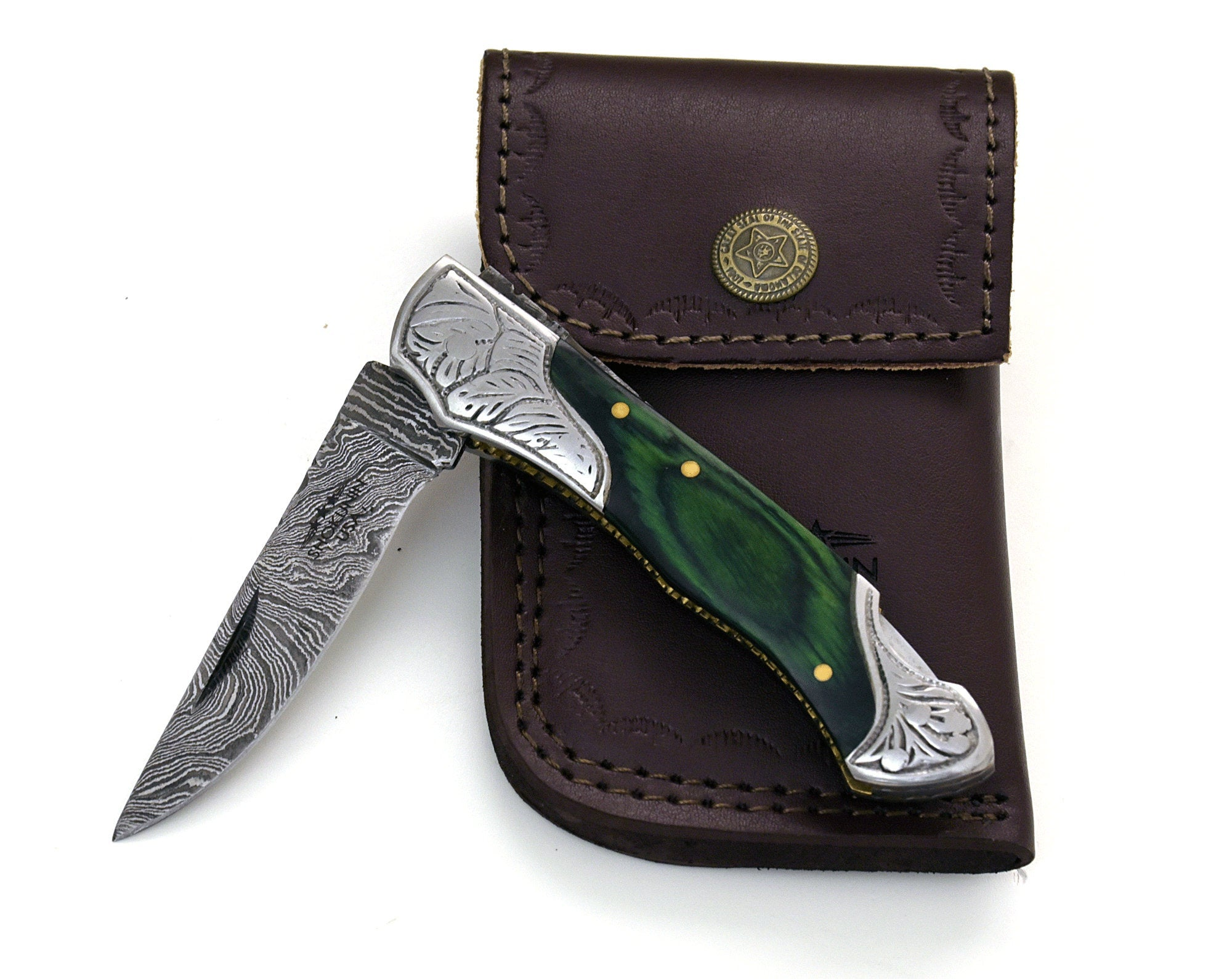 "DAMASCUS Knife, Folding knife, Pocket knife, EDC damascus steel hunting utility knife tactical camping knife 7"" Every day carry GREEN - SHOKUNIN USA"