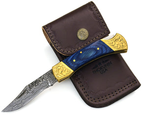 "DAMASCUS Knife, Folding knife, Pocket knife, EDC damascus steel hunting utility knife tactical camping knife 7"" Every day carry WOOD - SHOKUNIN USA"