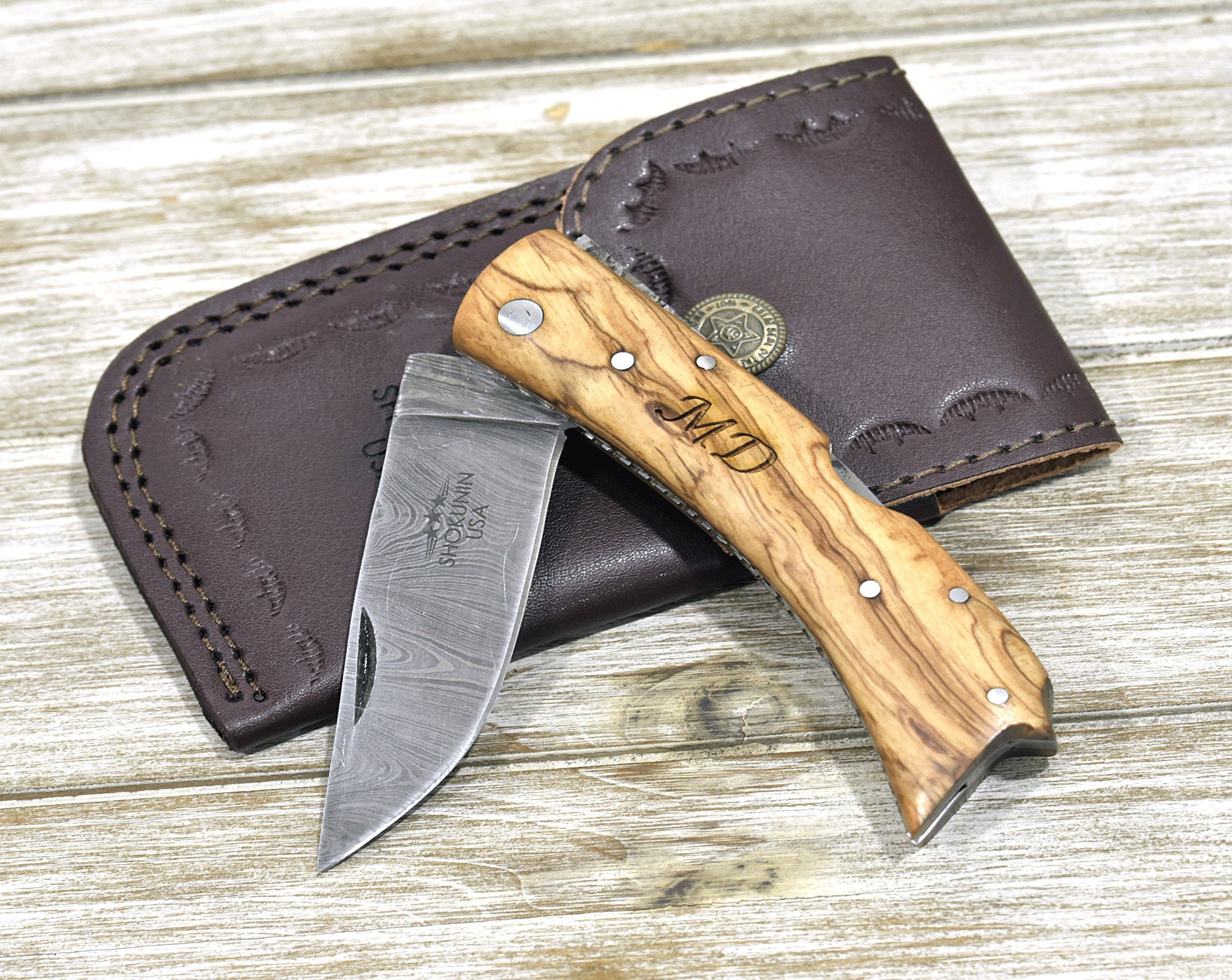 POCKET KNIFE, Damascus knife, every day carry, Damascus folder pocket knife, personalized knife, folding knife, olive wood, damascus - SHOKUNIN USA