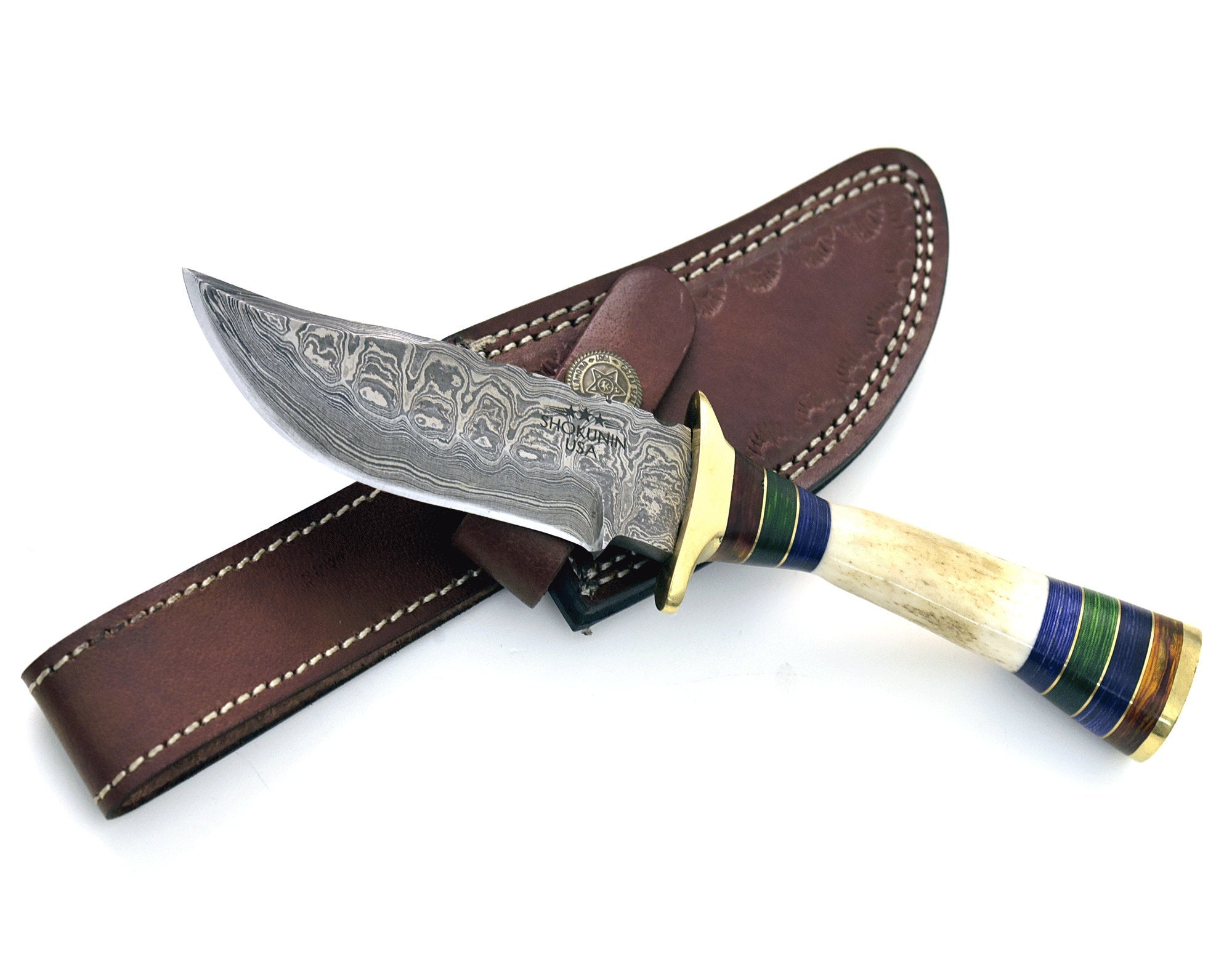"8.0"" Custom Damascus knife, Damascus steel hunting knife tactical camping utility knife with hand stitched leather sheath stag handle - SHOKUNIN USA"