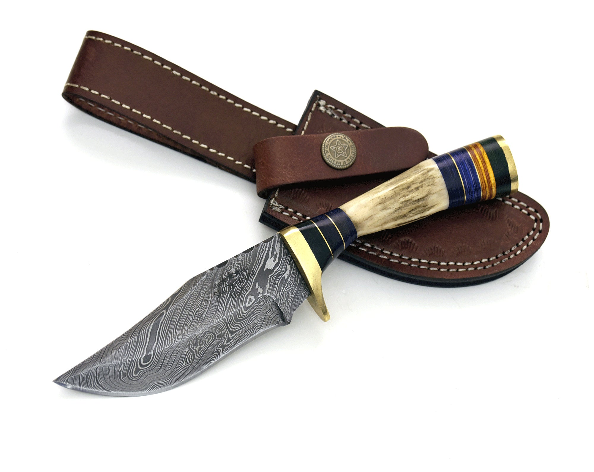 "8.0"" Custom Damascus knife, Stag handle, Damascus steel utility knife tactical camping hunting knife with hand stitched leather sheath - SHOKUNIN USA"