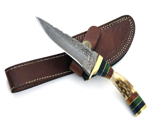 "7.0"" Custom Damascus knife, Stag handle, Damascus steel utility knife tactical camping hunting knife with hand stitched leather sheath - SHOKUNIN USA"